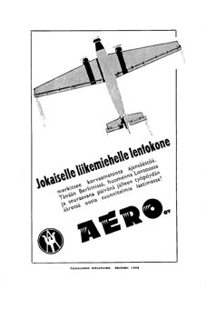 Aero Oy:n mainos 1930-luvulta.
