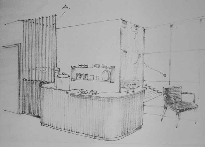 Tyylikäs Aino Aallon johdolla Artekissa suunniteltu baari kansainvälisen alueen odotussaliin toteutettiin keväällä 1948 ravintolaan johtavan porrastasanteen takana oleviin tiloihin. Kuva: Ilmailulaitoksen arkisto