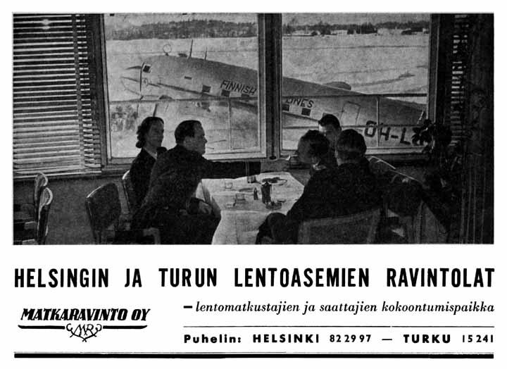 Matkaravinto Oy mainosti palvelujaan Ilmailu-lehdessä huhtikuussa 1950.